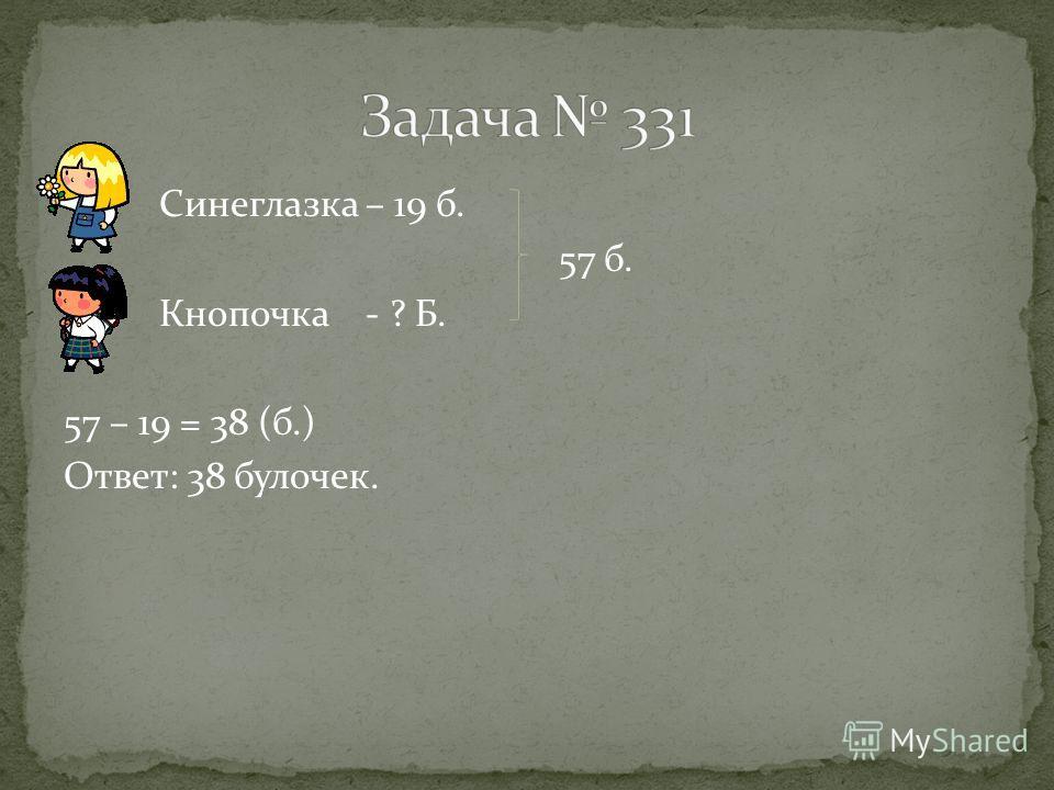 Синеглазка – 19 б. 57 б. Кнопочка - ? Б. 57 – 19 = 38 (б.) Ответ: 38 булочек.