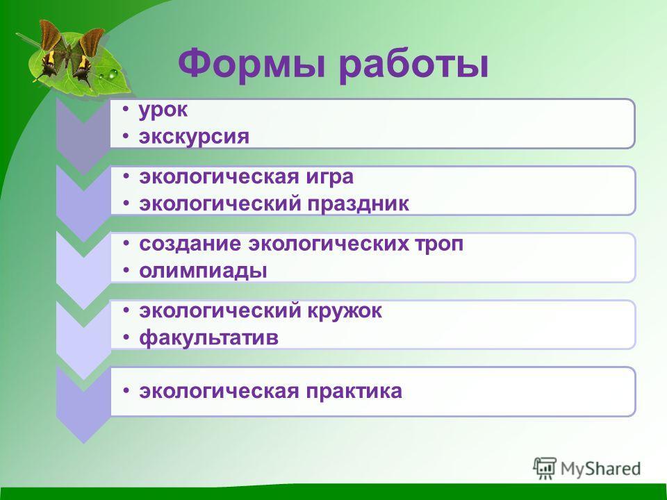 Формы работы урок экскурсия экологическая игра экологический праздник создание экологических троп олимпиады экологический кружок факультатив экологическая практика