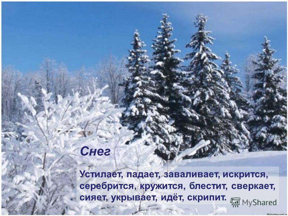 Устилает, падает, заваливает, искрится, серебрится, кружится, блестит, сверкает, сияет, укрывает, идёт, скрипит. Снег