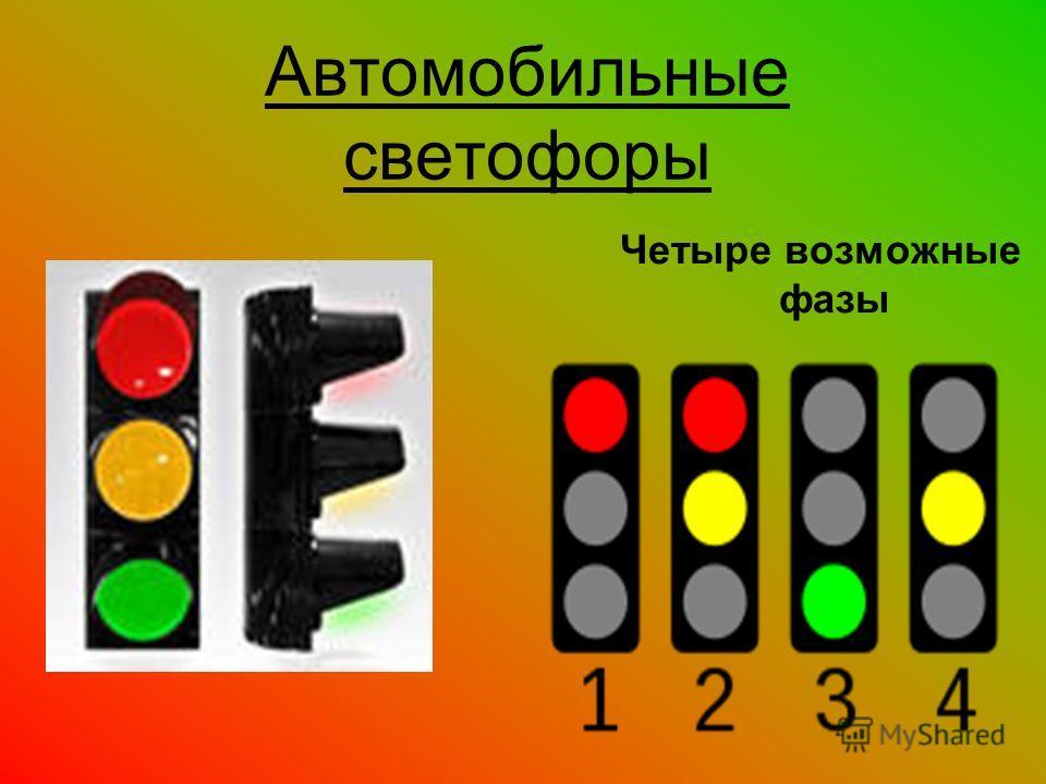 Автомобильные светофоры Четыре возможные фазы