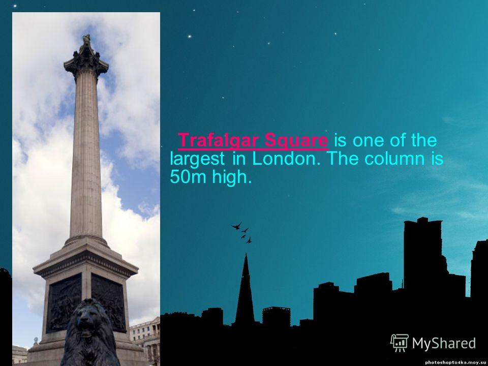 Trafalgar Square is one of the largest in London. The column is 50m high.