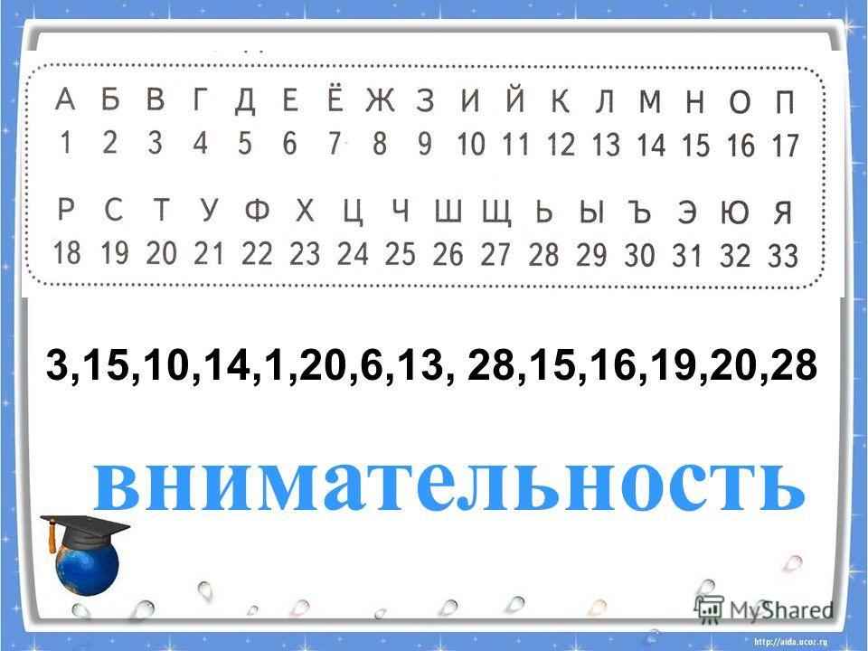 3,15,10,14,1,20,6,13, 28,15,16,19,20,28 внимательность
