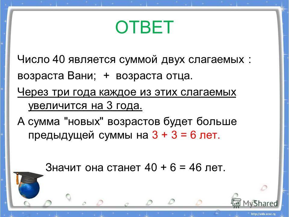 ОТВЕТ Число 40 является суммой двух слагаемых : возраста Вани; + возраста отца. Через три года каждое из этих слагаемых увеличится на 3 года. А сумма новых возрастов будет больше предыдущей суммы на 3 + 3 = 6 лет. Значит она станет 40 + 6 = 46 лет.