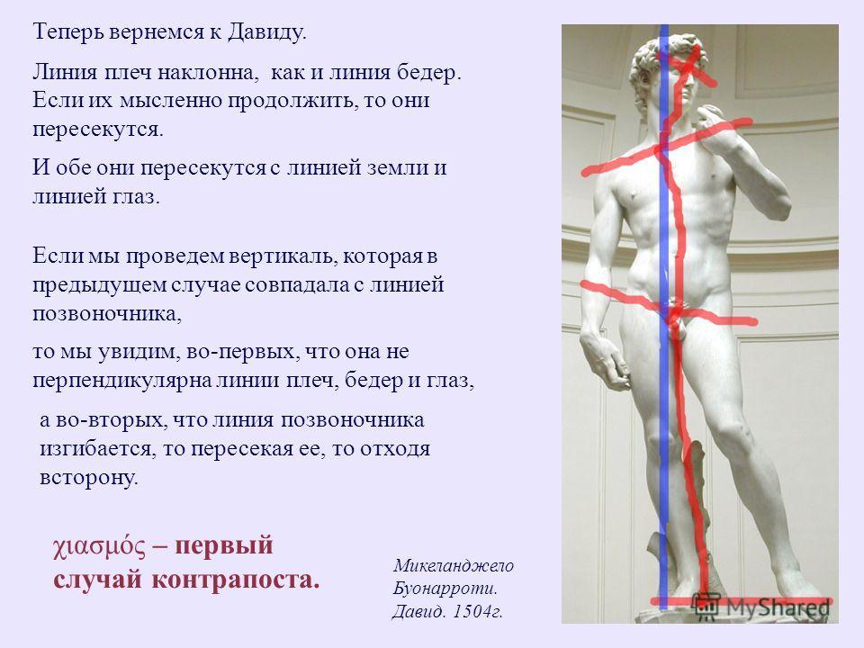 Теперь вернемся к Давиду. Микеланджело Буонарроти. Давид. 1504г. Линия плеч наклонна,как и линия бедер. Если их мысленно продолжить, то они пересекутся. И обе они пересекутся с линией земли и линией глаз. Если мы проведем вертикаль, которая в предыду