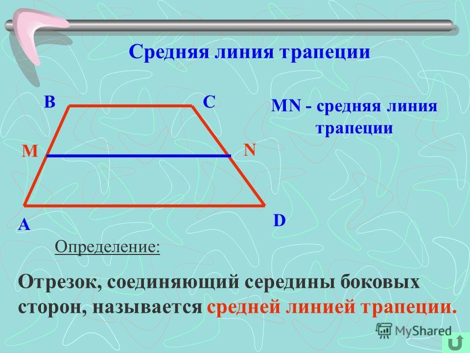 Средняя линия трапеции Определение: Отрезок, соединяющий середины боковых сторон, называется средней линией трапеции. A BC D M N MN - средняя линия трапеции