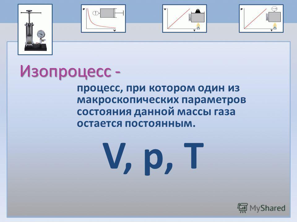 Изопроцесс - процесс, при котором один из макроскопических параметров состояния данной массы газа остается постоянным. V, p, Т