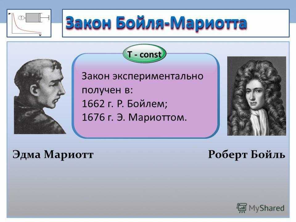 T - const Закон Бойля-Мариотта Роберт Бойль Закон экспериментально получен в: 1662 г. Р. Бойлем; 1676 г. Э. Мариоттом. Эдма Мариотт