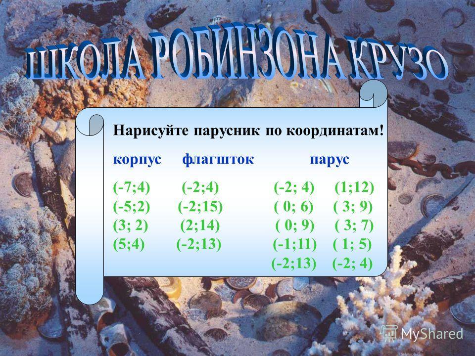 Нарисуйте парусник по координатам! корпус флагшток парус (-7;4) (-2;4) (-2; 4) (1;12) (-5;2) (-2;15) ( 0; 6) ( 3; 9) (3; 2) (2;14) ( 0; 9) ( 3; 7) (5;4) (-2;13) (-1;11) ( 1; 5) (-2;13) (-2; 4)