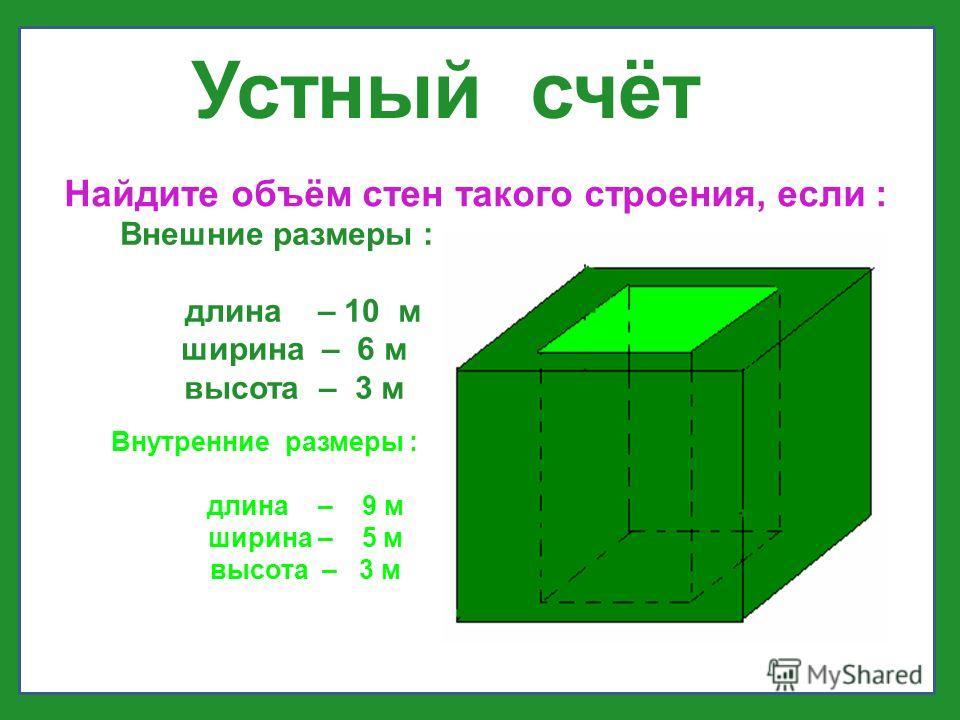 Устный счёт Найдите объём стен такого строения, если : Внешние размеры : длина – 10 м ширина – 6 м высота – 3 м Внутренние размеры : длина – 9 м ширина – 5 м высота – 3 м