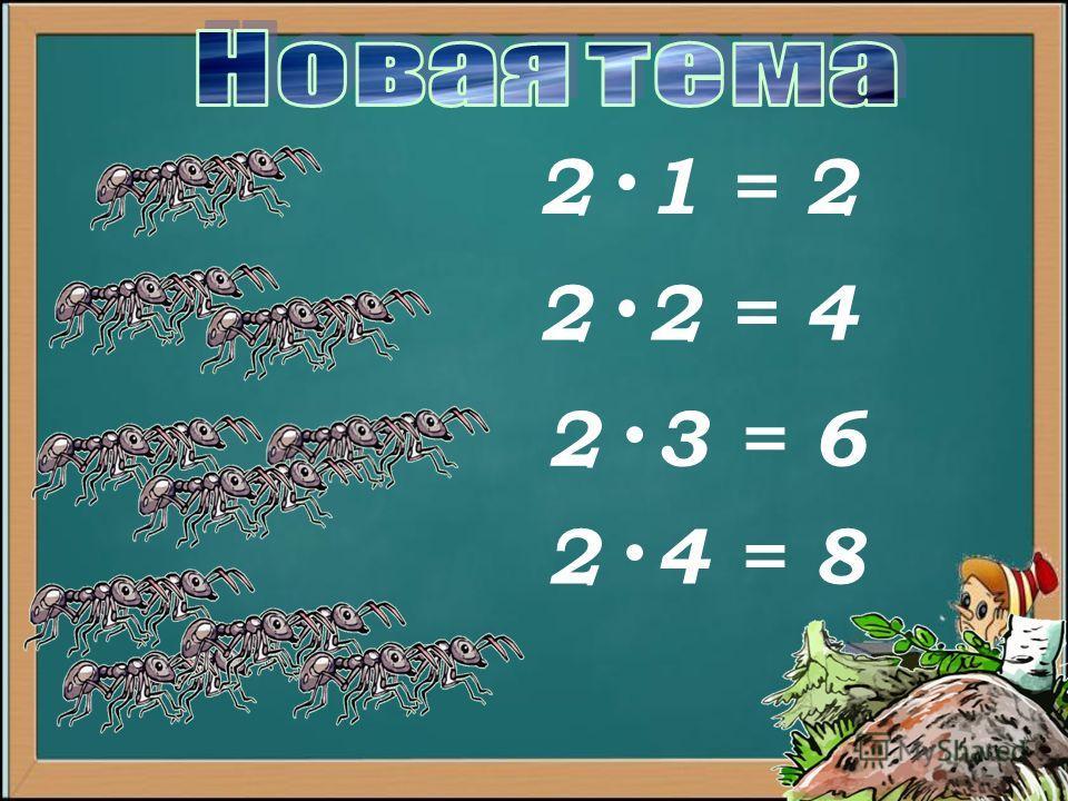 2 1 = 2 2 2 = 4 2 3 = 6 2 4 = 8