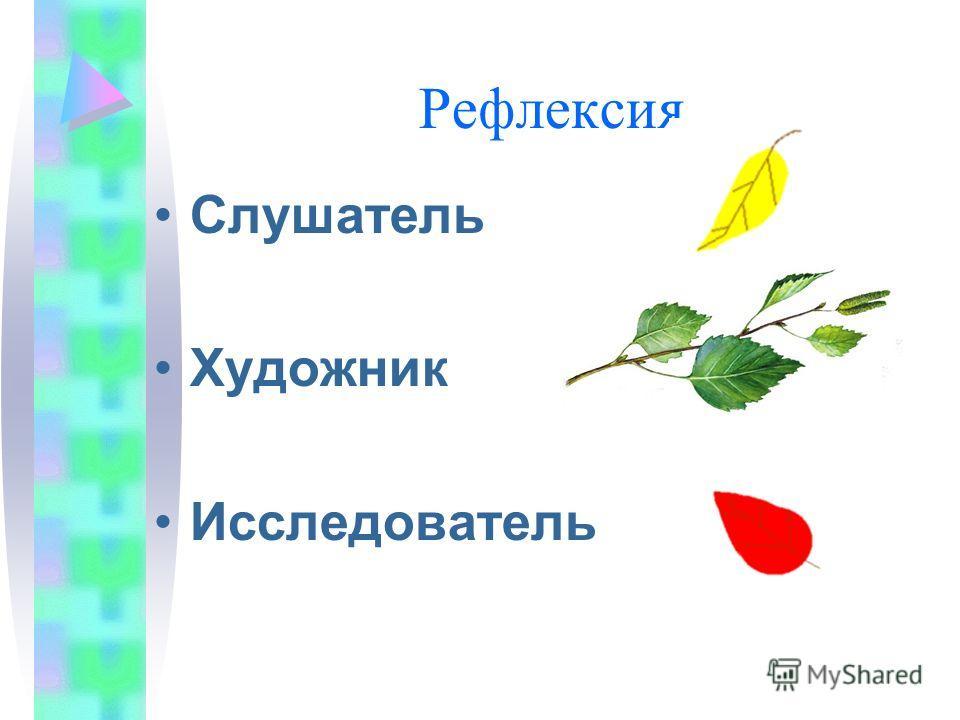 Рефлексия Слушатель Художник Исследователь