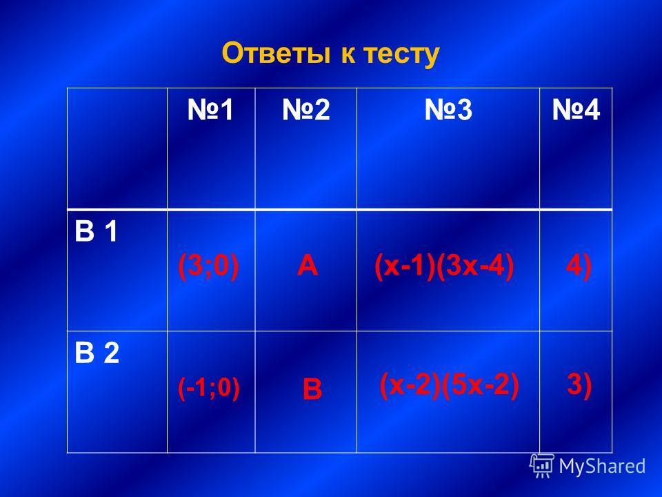 Ответы к тесту 1234 В 1 В 2 (3;0) (-1;0) А В (х-1)(3х-4) (х-2)(5х-2) 4) 3)