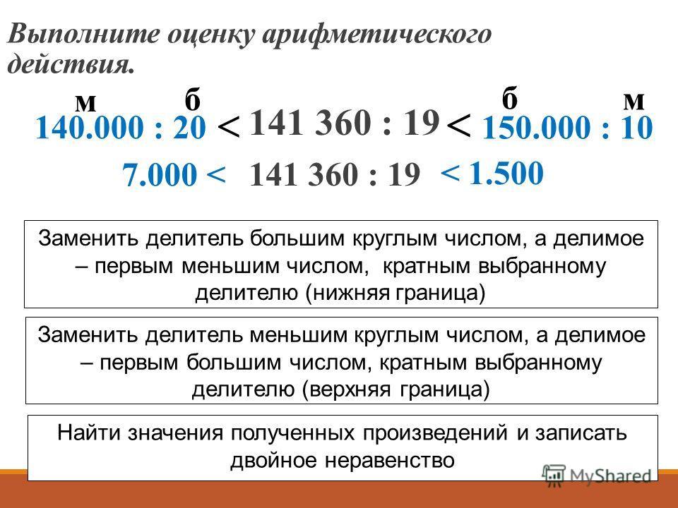 141 360 : 19 Выполните оценку арифметического действия. 140.000 : 20 150.000 : 10 б б м м Заменить делитель большим круглым числом, а делимое – первым меньшим числом, кратным выбранному делителю (нижняя граница) Заменить делитель меньшим круглым числ