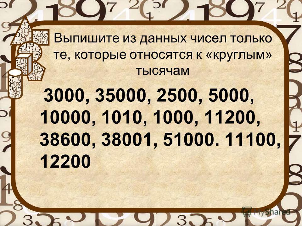Выпишите из данных чисел только те, которые относятся к «круглым» тысячам 3000, 35000, 2500, 5000, 10000, 1010, 1000, 11200, 38600, 38001, 51000. 11100, 12200