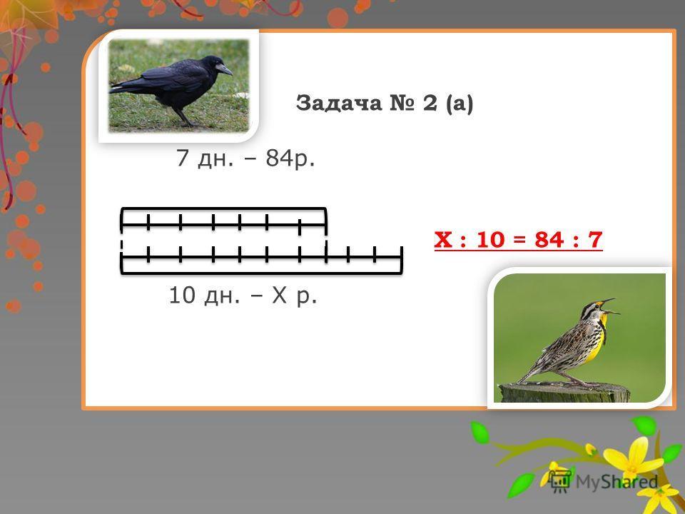 Задача 2 (а) 7 дн. – 84р. Х : 10 = 84 : 7 10 дн. – Х р.