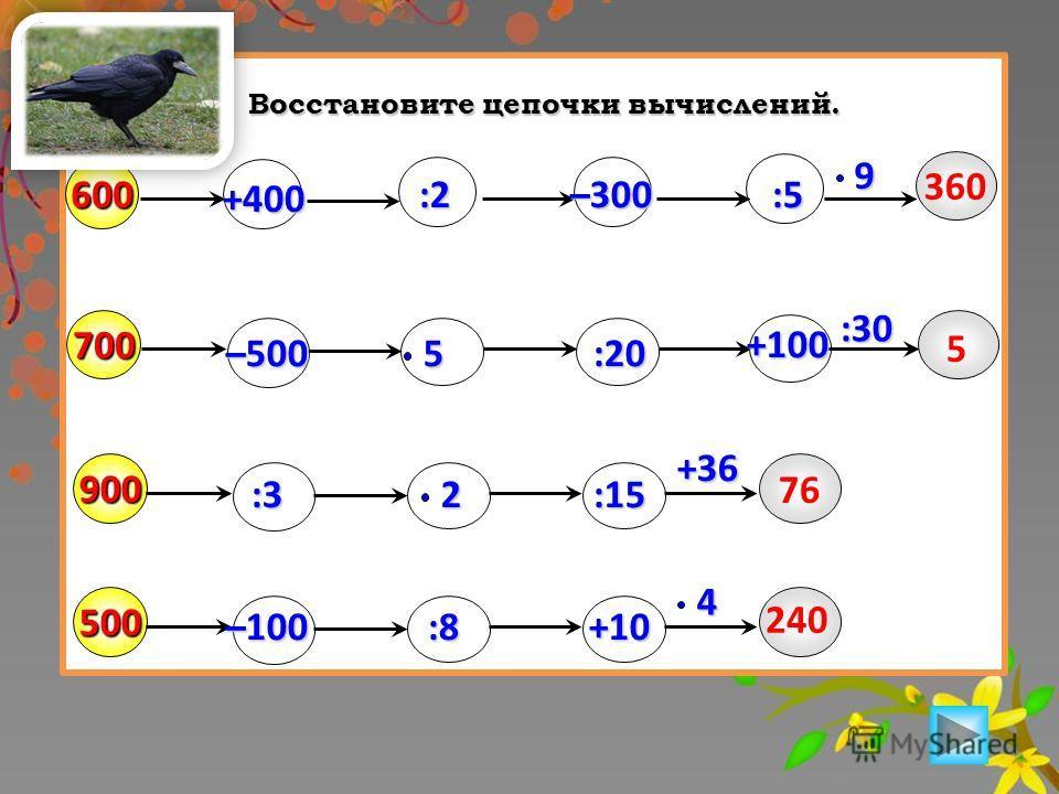 Восстановите цепочки вычислений. 6004:59700 :2 :20 :3 900 :152500 :8+105+100 +36 –100 –500 :30 –300 360 5 76 240 +400