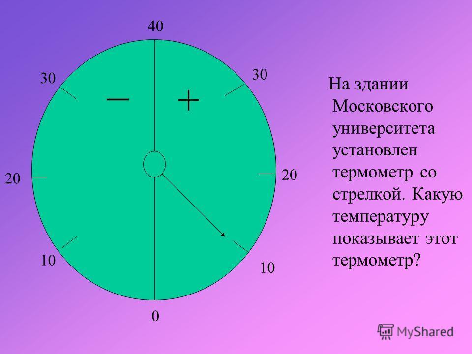На здании Московского университета установлен термометр со стрелкой. Какую температуру показывает этот термометр? _ + 0 10 20 10 20 30 40