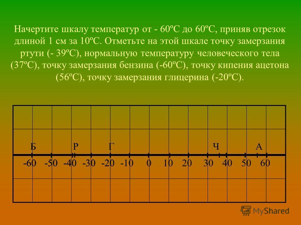 Начертите шкалу температур от - 60ºС до 60ºС, приняв отрезок длиной 1 см за 10ºС. Отметьте на этой шкале точку замерзания ртути (- 39ºС), нормальную температуру человеческого тела (37ºС), точку замерзания бензина (-60ºС), точку кипения ацетона (56ºС)