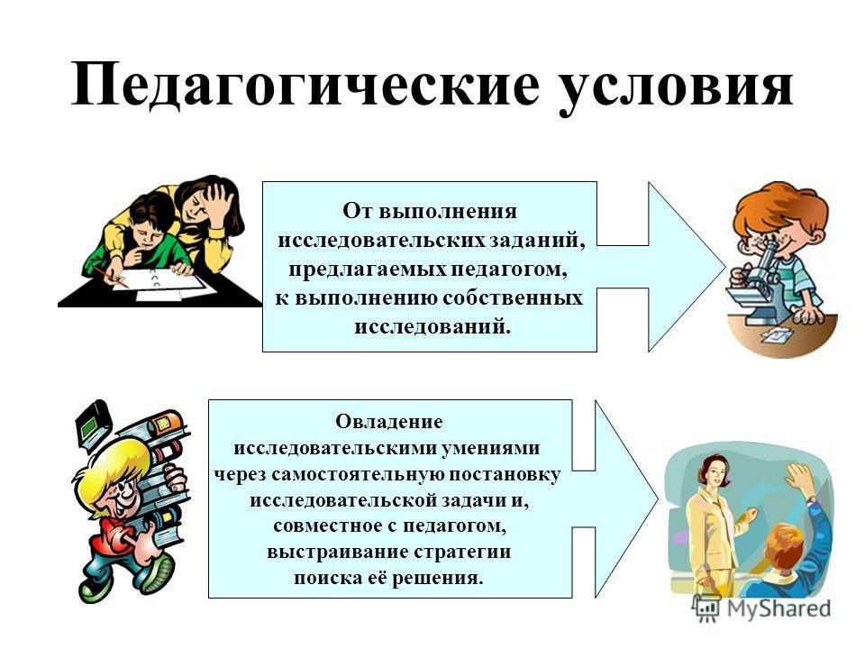 Педагогические условия От выполнения исследовательских заданий, предлагаемых педагогом, к выполнению собственных исследований. Овладение исследовательскими умениями через самостоятельную постановку исследовательской задачи и, совместное с педагогом,