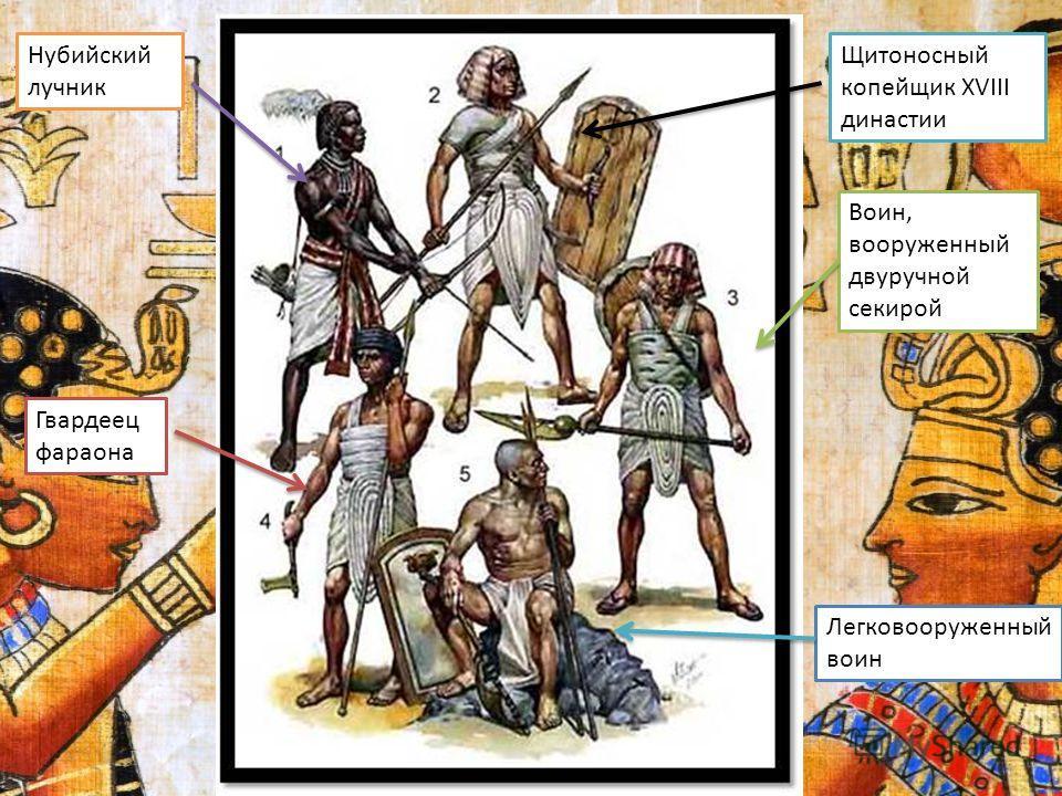 Нубийский лучник Щитоносный копейщик XVIII династии Воин, вооруженный двуручной секирой Гвардеец фараона Легковооруженный воин