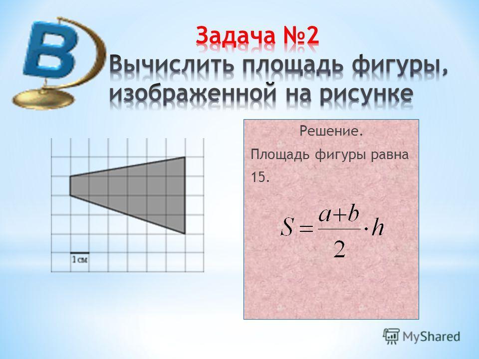 Решение. Площадь фигуры равна 15.