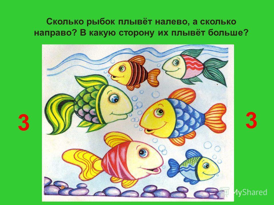 Сколько рыбок плывёт налево, а сколько направо? В какую сторону их плывёт больше? 3 3