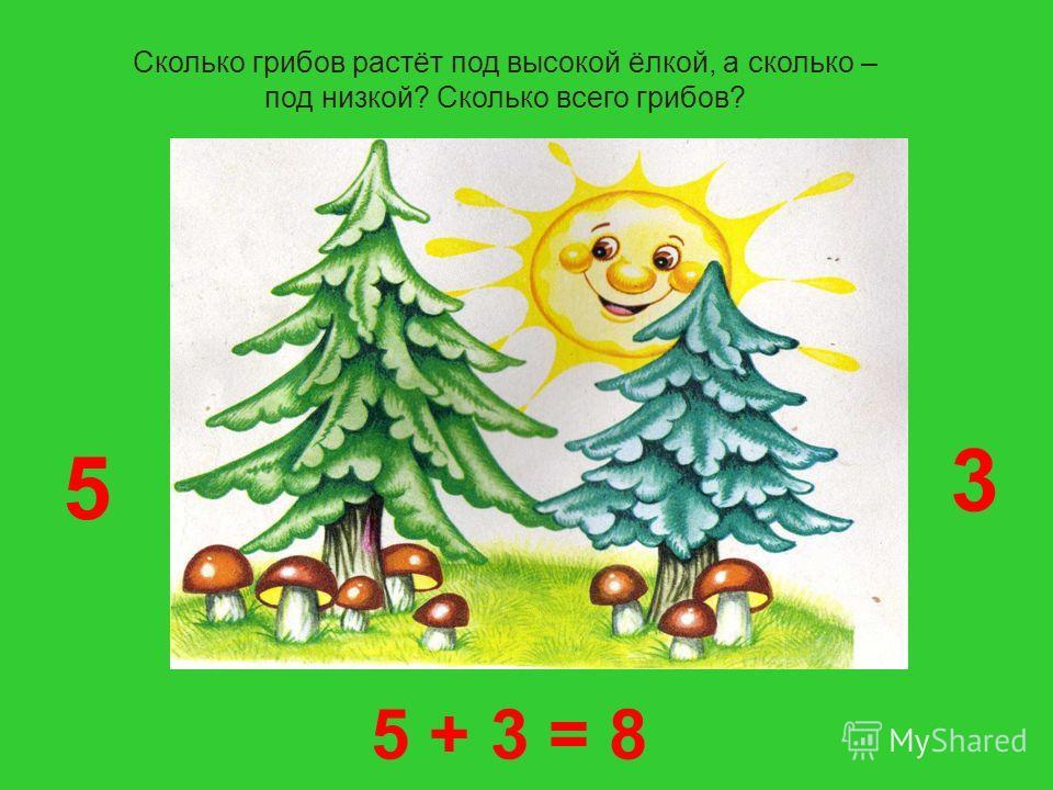 Сколько грибов растёт под высокой ёлкой, а сколько – под низкой? Сколько всего грибов? 3 5 5 + 3 = 8
