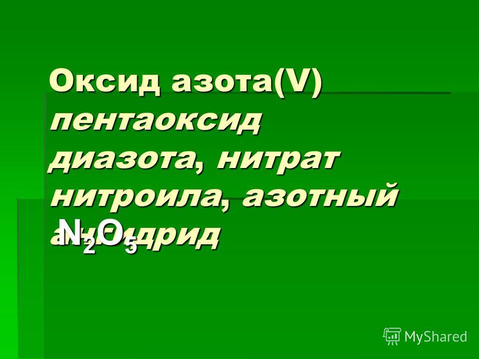 Оксид азота(V) пентаоксид диазота, нитрат нитроила, азотный ангидрид N2O5N2O5N2O5N2O5