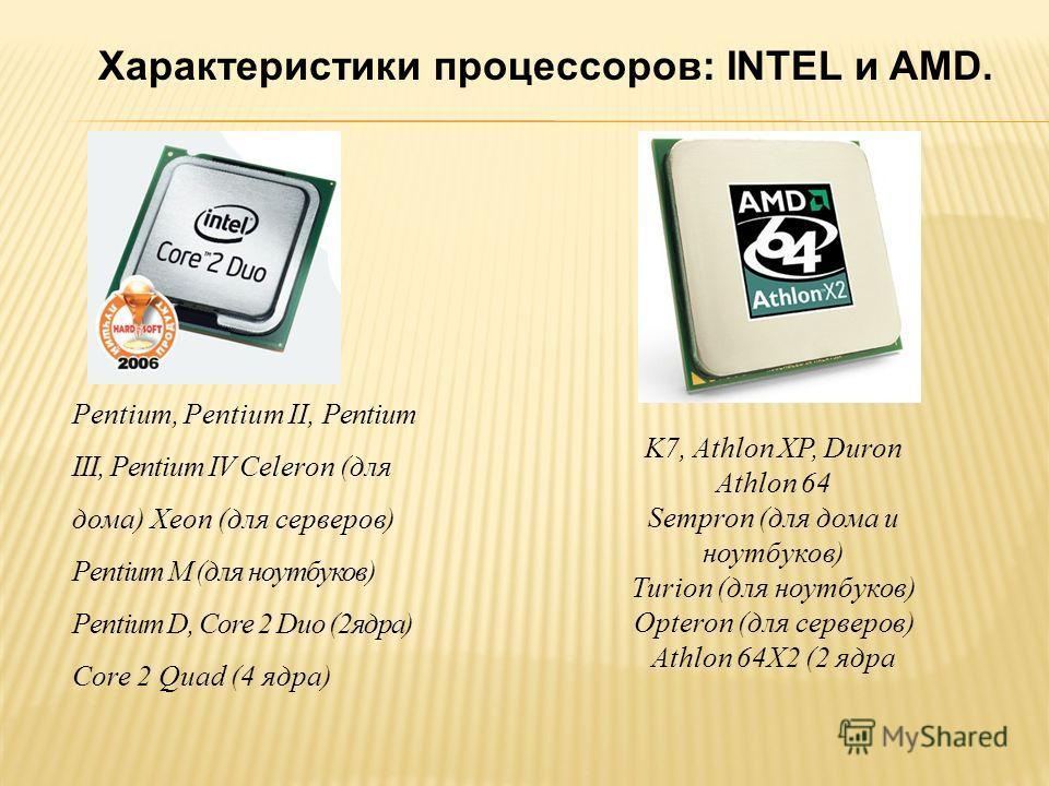 Pentium, Pentium II, Pentium III, Pentium IV Celeron (для дома) Xeon (для серверов) Pentium M (для ноутбуков) Pentium D, Core 2 Duo (2ядра) Core 2 Quad (4 ядра) K7, Athlon XP, Duron Athlon 64 Sempron (для дома u ноутбуков) Turion (для ноутбуков) Opte