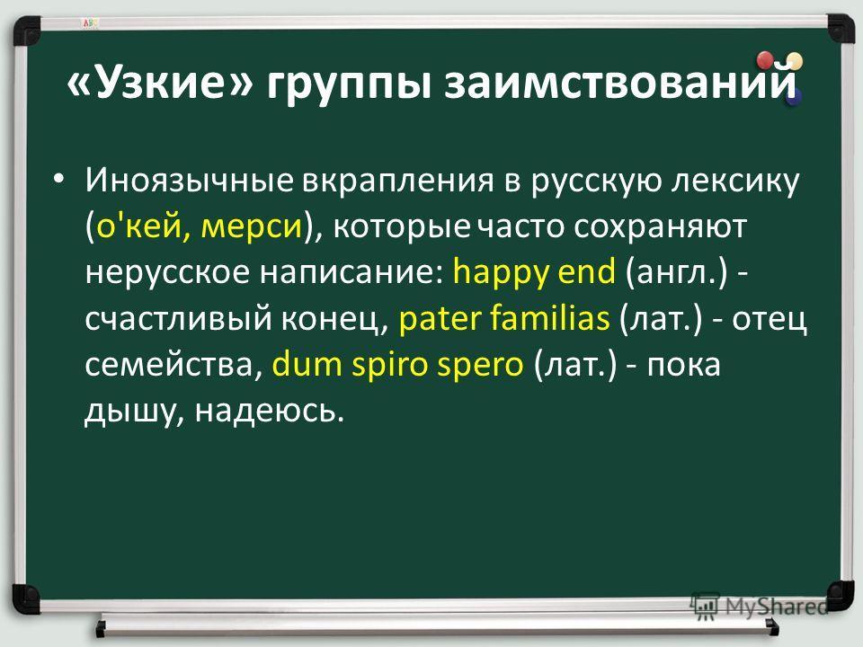 «Узкие» группы заимствований Иноязычные вкрапления в русскую лексику (о'кей, мерси), которые часто сохраняют нерусское написание: happy end (англ.) - счастливый конец, pater familias (лат.) - отец семейства, dum spiro spero (лат.) - пока дышу, надеюс