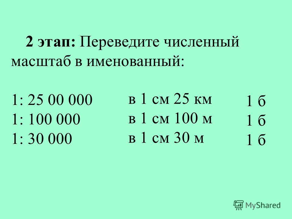 2 этап: Переведите численный масштаб в именованный: 1: 25 00 000 1: 100 000 1: 30 000 в 1 см 25 км в 1 см 100 м в 1 см 30 м 1 б