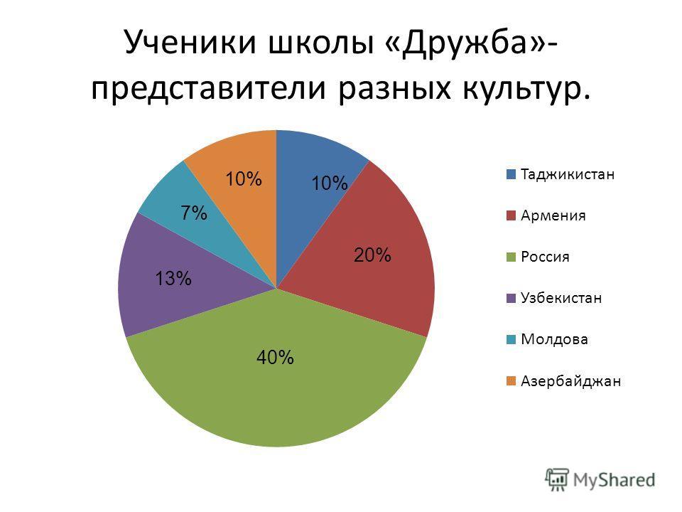 Ученики школы «Дружба»- представители разных культур. 10% 13%