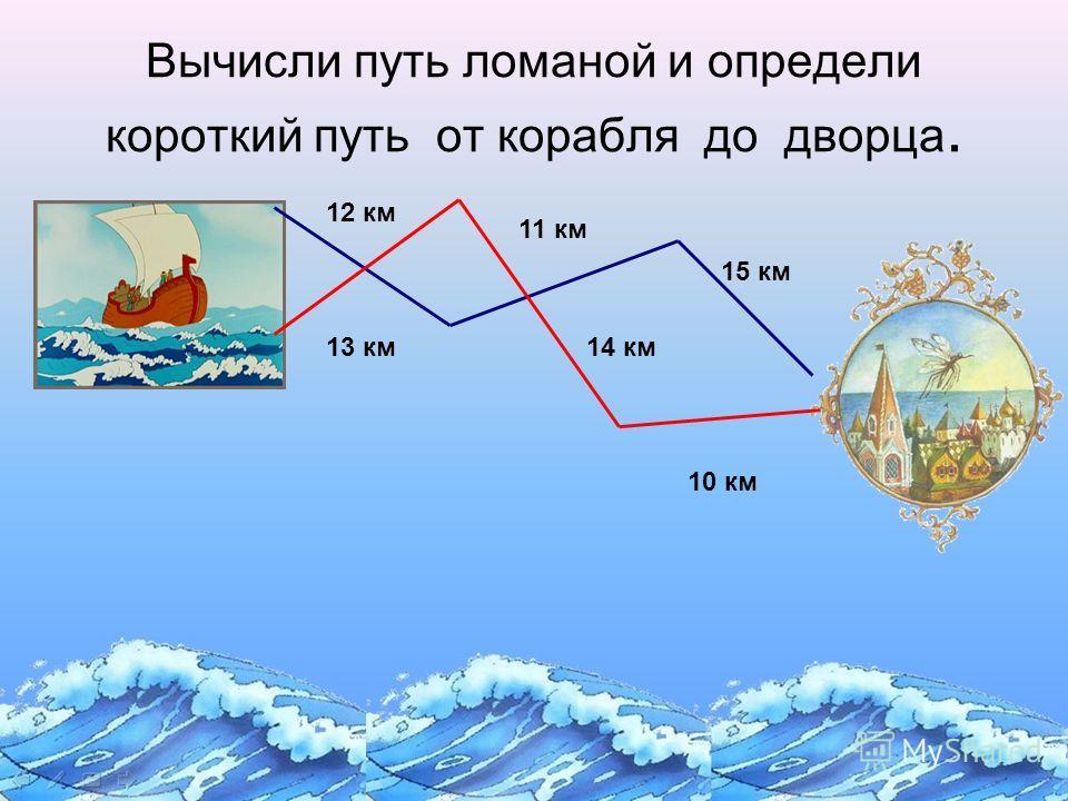 12 км 11 км 15 км 13 км14 км 10 км Вычисли путь ломаной и определи короткий путь от корабля до дворца.