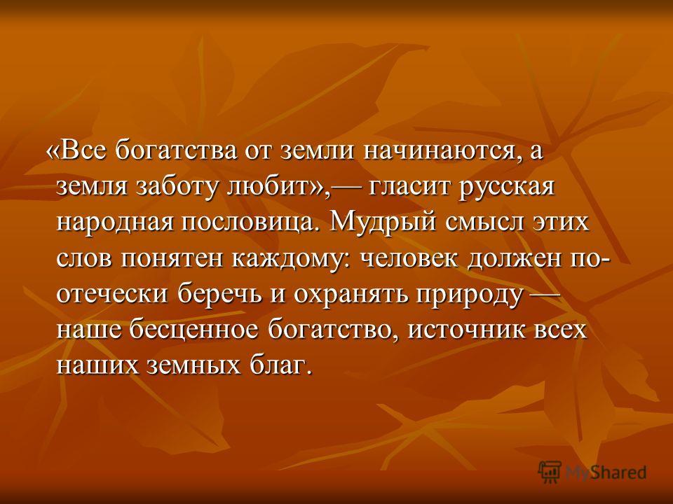 «Все богатства от земли начинаются, а земля заботу любит», гласит русская народная пословица. Мудрый смысл этих слов понятен каждому: человек должен по- отечески беречь и охранять природу наше бесценное богатство, источник всех наших земных благ. «Вс