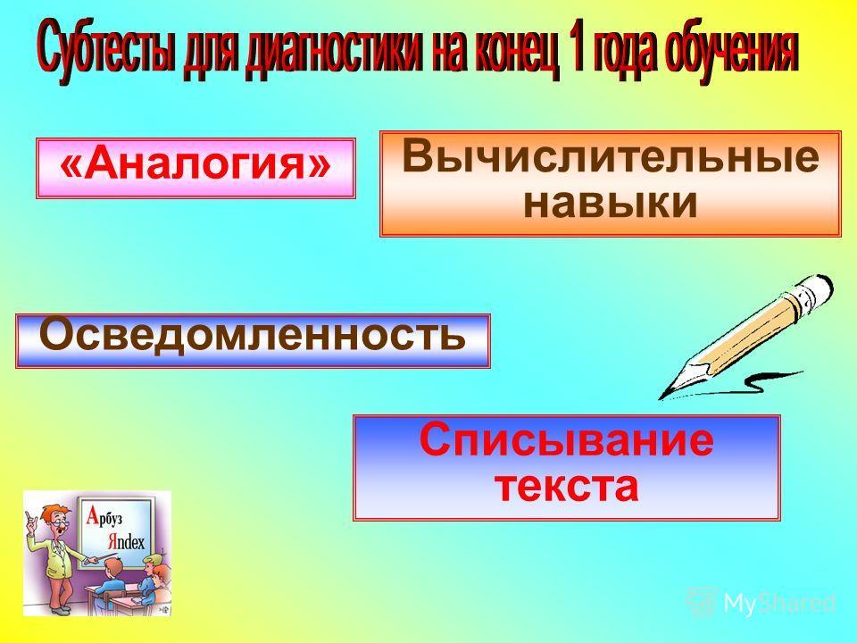 Осведомленность «Аналогия» Вычислительные навыки Списывание текста
