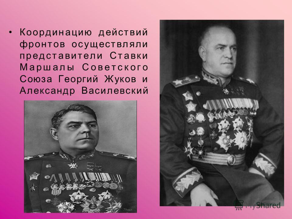 Координацию действий фронтов осуществляли представители Ставки Маршалы Советского Союза Георгий Жуков и Александр Василевский