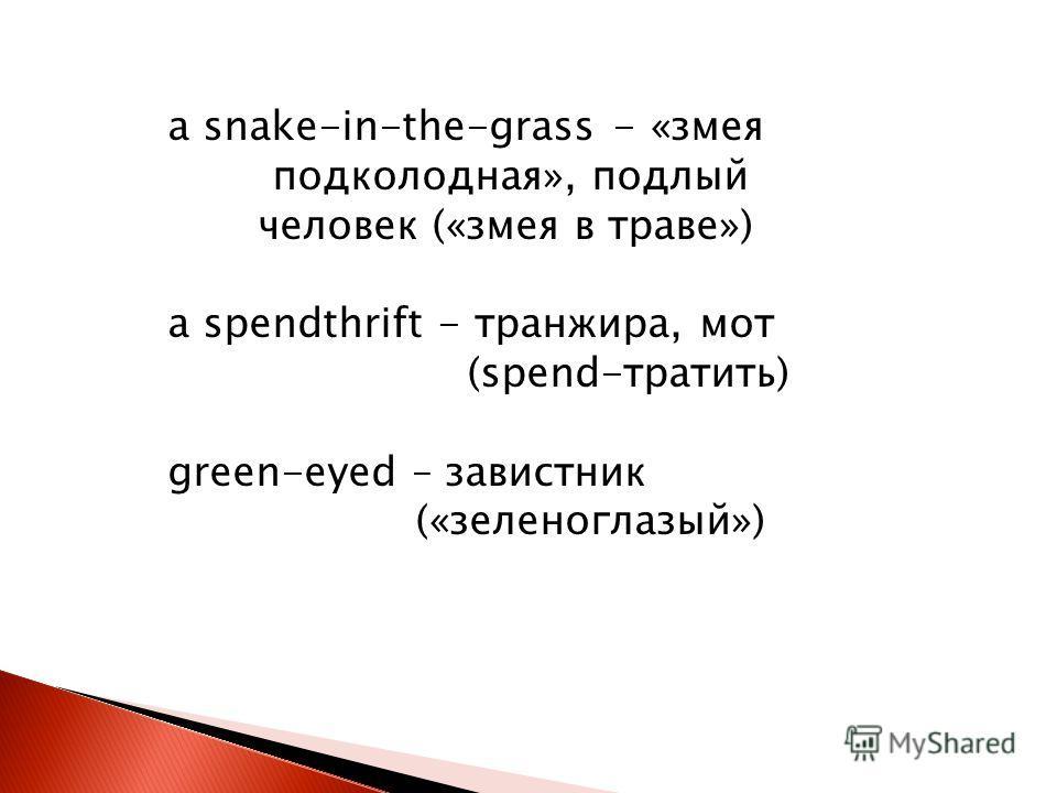 a snake-in-the-grass - «змея подколодная», подлый человек («змея в траве») a spendthrift - транжира, мот (spend-тратить) green-eyed – завистник («зеленоглазый»)