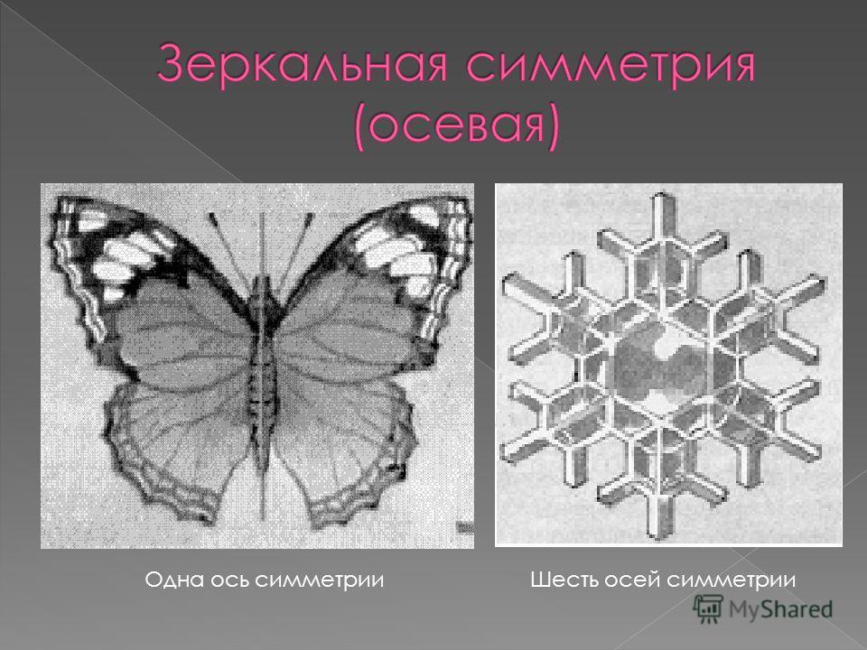 Одна ось симметрииШесть осей симметрии