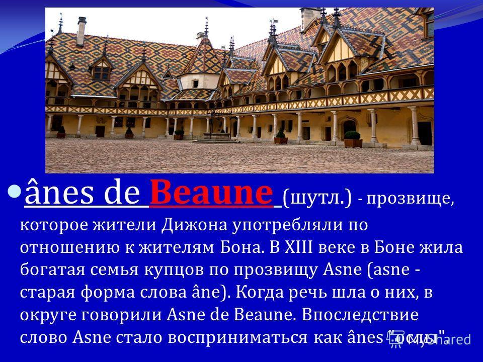 ânes de Beaune ( шутл.) - прозвище, которое жители Дижона употребляли по отношению к жителям Бона. В XIII веке в Боне жила богатая семья купцов по прозвищу Asne (asne - старая форма слова âne). Когда речь шла о них, в округе говорили Asne de Beaune.