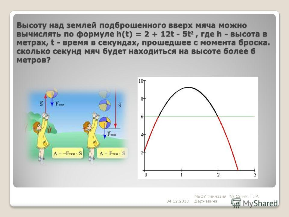 Высоту над землей подброшенного вверх мяча можно вычислять по формуле h(t) = 2 + 12t - 5t 2, где h - высота в метрах, t - время в секундах, прошедшее с момента броска. сколько секунд мяч будет находиться на высоте более 6 метров? 1 МБОУ гимназия 12 и