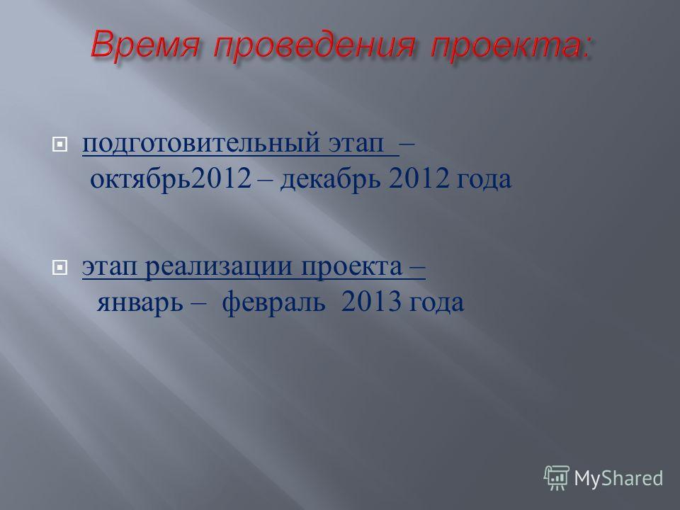 подготовительный этап – октябрь 2012 – декабрь 2012 года этап реализации проекта – январь – февраль 2013 года