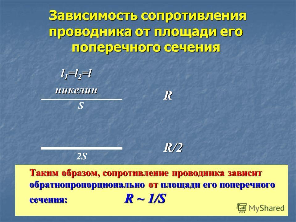 Зависимость сопротивления проводника от площади его поперечного сечения Зависимость сопротивления проводника от площади его поперечного сечения l 1 =l 2 =l l 1 =l 2 =l никелин никелин Таким образом, сопротивление проводника зависит обратнопропорциона