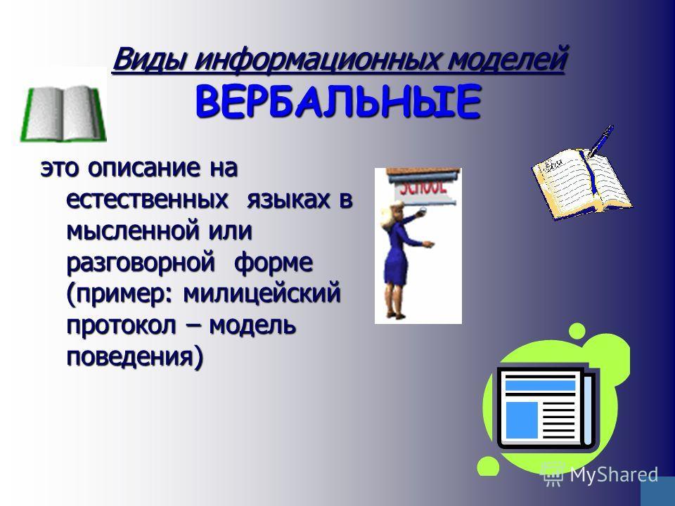 Виды информационных моделей ВЕРБАЛЬНЫЕ это описание на естественных языках в мысленной или разговорной форме (пример: милицейский протокол – модель поведения)