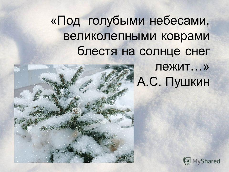 «Под голубыми небесами, великолепными коврами блестя на солнце снег лежит…» А.С. Пушкин