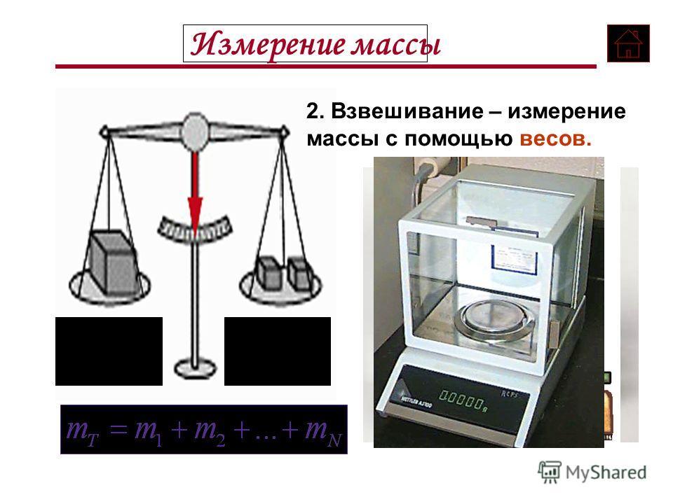 Измерение массы Массу тела можно измерить двумя способами: где известная масса (масса эталона) 1. Взаимодействие тел, используя формулу:
