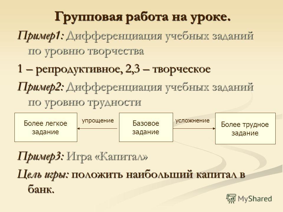 Групповая работа на уроке. Пример1: Дифференциация учебных заданий по уровню творчества 1 – репродуктивное, 2,3 – творческое Пример2: Дифференциация учебных заданий по уровню трудности Пример3: Игра «Капитал» Цель игры: положить наибольший капитал в