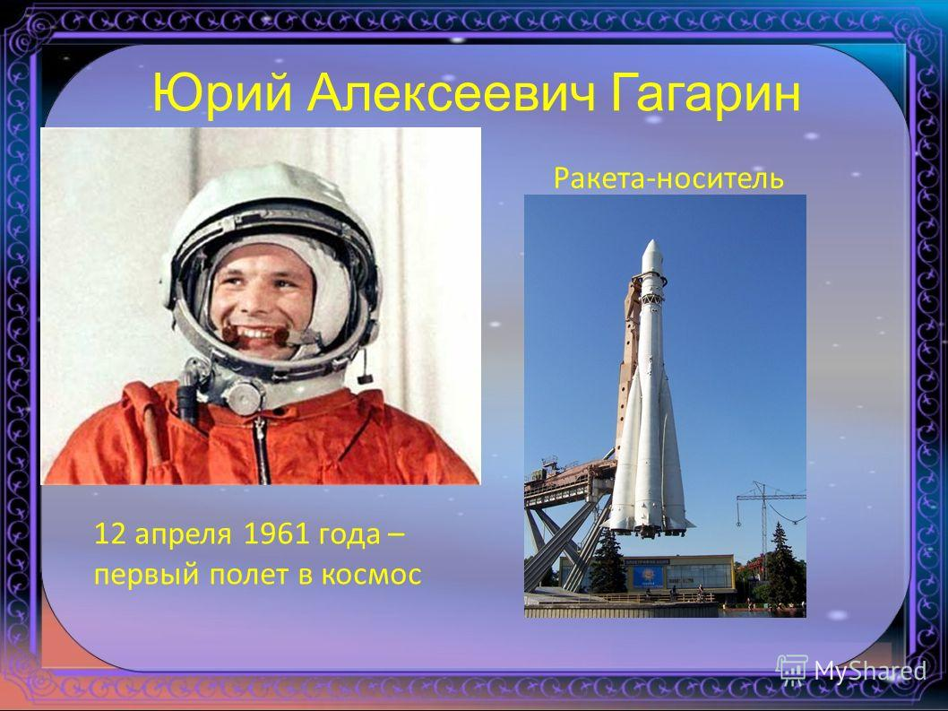 Юрий Алексеевич Гагарин Ракета-носитель 12 апреля 1961 года – первый полет в космос