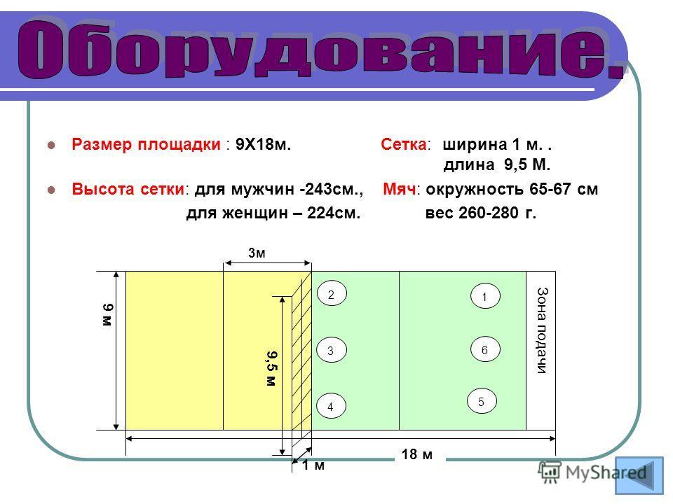 Размер площадки : 9Х18м. Сетка: ширина 1 м.. длина 9,5 М. Высота сетки: для мужчин -243см., Мяч: окружность 65-67 см для женщин – 224см. вес 260-280 г. 2 3 4 5 6 1 18 м 1 м Зона подачи 9 м 9,5 м 3м