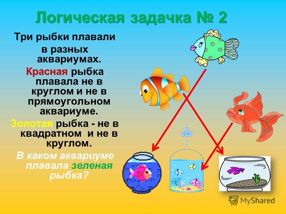 Логическая задачка 2 Три рыбки плавали в разных аквариумах. Красная рыбка плавала не в круглом и не в прямоугольном аквариуме. Золотая рыбка - не в квадратном и не в круглом. В каком аквариуме плавала зеленая рыбка?