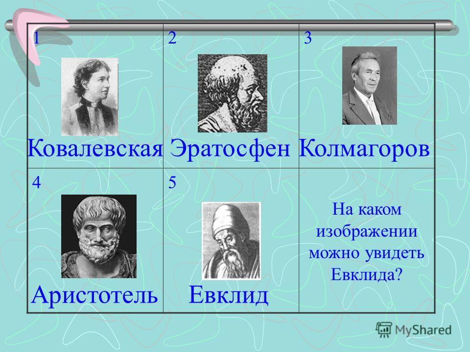 123 45 На каком изображении можно увидеть Евклида? ЭратосфенКовалевская ЕвклидАристотель Колмагоров